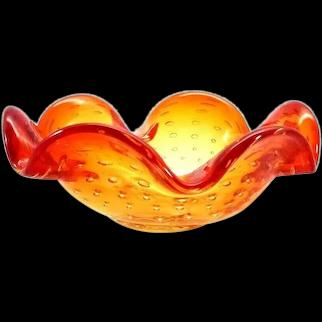 Art Glass Bowl Candy Dish Ashtray Orange Yellow Bullicante 6 inch
