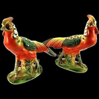 Wales Ceramic Pair Of Red Pheasant Bird Figurines Hand Painted Vintage