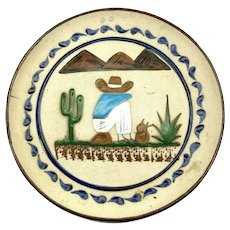 Vintage Sleeping Mexican Decorative Plate Wall Hanging Charger