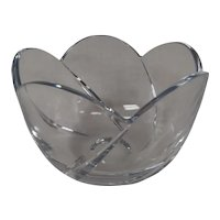 Vintage Lead Crystal Swirl Serving Bowl - Very Heavy Clear Lead