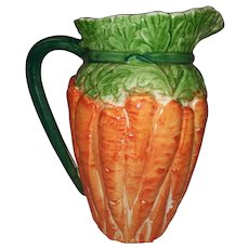 Vintage Majolica Ceramic Carrot Shaped Pitcher - Made in Italy - Orange Carrots with Green Leaves and Handle