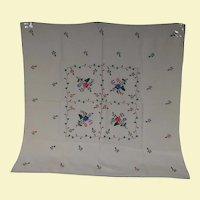 Vintage Hand Embroidery on Heavy Cotton Table Cloth of Flowers, Leaves, and Vines in Pink, Blue, Red, and Green