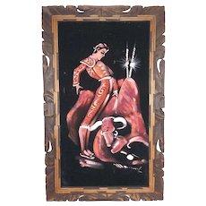 Vintage Matador and Bull Oil on Black Velvet in Hand Carved Dark Wood Frame