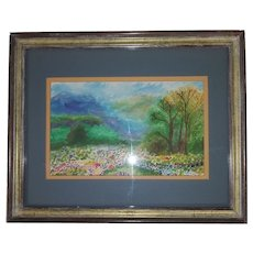 Vintage Landscape Watercolor of Trees, Flowers, Grass - Framed in Glass