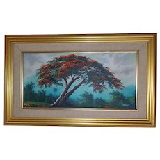 Vintage Oil of Tree and Landscape in Gold Frame from Puerta Rico