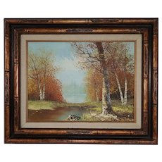 Vintage Oil Landscape of Trees with Water in Bamboo Style Frame - Signed