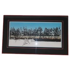 Vintage Original Lithograph of Wolves Running in the Forest - Signed by Artist in Pencil and Numbered