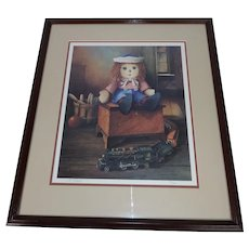 Vintage Raggedy Andy in Attic with Train, Bowling Ball and Pins - Signed by Artist and Numbered 15/200 Print - Framed Lithograph Under Glass