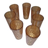 Vintage Set of 7 Golden Iridescent High Ball Glasses - Carnival Glass Style - Perfect Condition