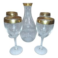 Vintage Hand Blown Bronze Rimmed Decanter and Bar Glass Set of 5 with White Scrolling Design - Perfect for Wine and Spirits