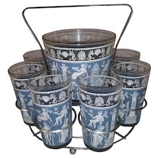 Vintage Ice Bucket and High Ball Bar Glass Set with Stainless Steel Carrier -  Blue and White Roman Design on Glassware -  10 Piece Set