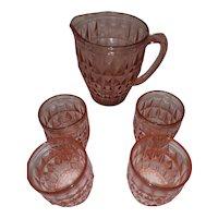 Vintage Pink Depression Glass Pitcher with 4 Glasses - Windsor Geometric Pattern - by Jeanette Glass Co. - Lemonade Set