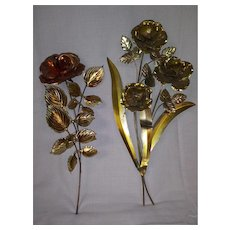 Vintage Home Interior Metal Wall Art - Roses with Leaves and Vines - Gold, Copper, and Bronze Color Finish