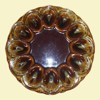 Vintage Majolica Drip Egg Plate in Brown, Beige, and Green Color