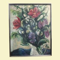 Very Large Framed Vintage Textured Oil Painting on Masonite - Flowers in Pitcher - Flowers are Red with Orange and Pink with Green Leaves in a White Pitcher - Black Swirls