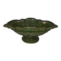 Vintage Extra Large Green Majolica Ceramic Bowl -  Oval with Handles