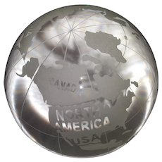 Vintage Lead Crystal Globe of the World - Embossed Countries and Water Names