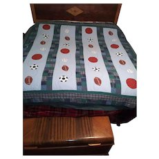 Vintage Hand Stitched Children's Quilt - Hand Made Appliques of Football, Soccer, Baseball Balls  - Top Stitching by Hand - Blue Theme Color for Typical Boy's Room
