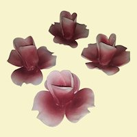Vintage Set of 4 Capodimonte Porcelain Ceramic Candle Holders - Pink and White