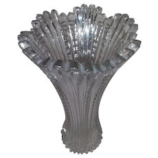 Vintage American Cut, Clear Glass, Flower Bouquet Vase - Stunning for Roses - Individual Cuts to Support Each Stem