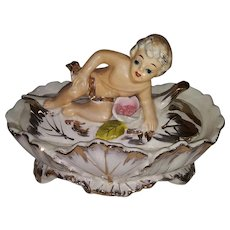 Vintage Hand Painted Vanity Dish with Lid - Gold Guilded - Capodimonte Style - Ceramic Bisque
