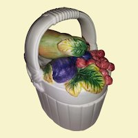 Vintage Hand Painted White Ceramic Bisque Basket - Sealed Handle Lid with Colorful Fruit - Red Apple, Cherries, and Berries, Purple Plum and Berries, Green Pear and Leaves