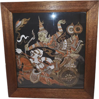 Antique Thai Batik Silkscreen Painting on Silk - Warriors on Chariot with Horse - Custom Walnut Frame - White , Gold, and Silver Paint