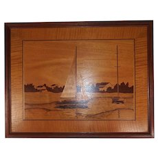 Vintage Wood Inlaid Marquetry Wall Art - Sailboats on the Water - Houses with Trees and Landscape