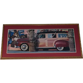 Vintage Very Large Lithograph in Custom Frame - Vintage Station Wagon with Surf Board in Window - Custom Gold Composite Frame