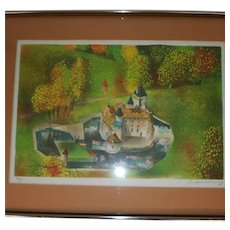 Vintage Signed, Numbered Screen Lithograph - Fairytale Style Castle - Warm colors of Green, Gold, Green, Orange, Red, and Blue