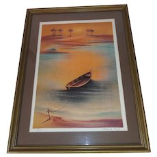 Vintage Numbered, Signed Screen Lithograph in Custom Wood Frame - Docked Boat on Beach - Landscape of Trees, Grass, and Sand