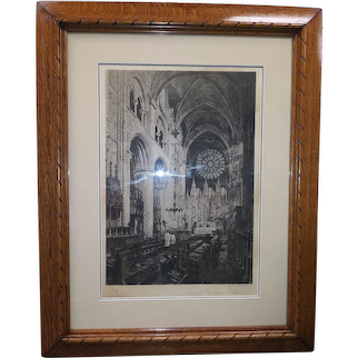 Vintage Very Large Etching - Choir of the Durham Cathedral - Custom Heavy Oak Frame - After an Etching by Haig