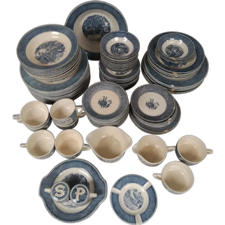 Vintage Currier & Ives Dinnerware Set - Blue and White - the Old Grist Mill by Royal - 54 Pieces - Plates, Bowls, Cups, Salt, Pepper, Desert Bowls, Ashtray
