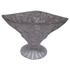Vintage Clear Leaded Glass Pedestal Pedestal Fruit Bowl - Triangle Shape - Leaf and Stem Design