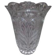 Vintage Lead Crystal Vase - Heart and Leaf Design -Scalloped Top for Individual Flower or Rose Stem Support