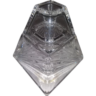 Vintage Lead Crystal Pyramid Storage Container with Lid -  Clear Cut Glass