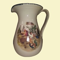 Vintage Ironstone Pitcher - Hand Painted and Transferware - Farm Design with Chickens: Rooster and Hens, Cart, and Hay - Beige with Green Lip - Design is Brown., Red, Bronze, Green