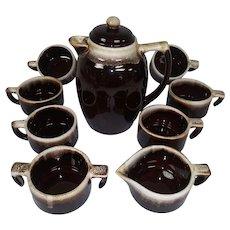 Vintage Brown Drip Pfaltzgraff Hot Pot, Mugs, Sugar, and Creamer - 10 Piece Set - Chocolate, Tea,  or Coffee Set - Fireside Set