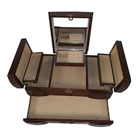 Vintage Asian Wood Fold Out Jewelry Box with Mirror and Drawer - Ring Holder