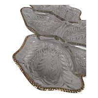 Embossed, Clear Pressed Glass, Venetian Feather Divided Platter with Gold Trim by Jeanette Glass Company