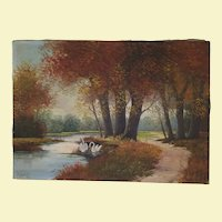 Vintage Landscape Oil Painting on Canvas- Swans in Water, Trees with Fall Colored Leaves, Dirt Road, Green Grass - Signed by Artist A. Sleeswijk - Unframed