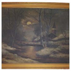 Antique Landscape Oil Painting on Canvas - Original Wood Frame, Gold in Color - House, Water, Trees, Barn, Fence, Full Moon, and Snow - A Dark Stormy Night