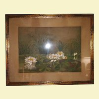 Vintage Pastel Rubbed Chalk of Lily Flowers in a Pond - Lily Flowers, Lily Pads, and Cat Tails in a Pond - Custom Gold Colored Wood Frame with Tan Mat - Glass Covered - Beige, Green, Brown, White, Gray, and Maroon