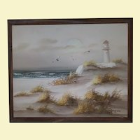 Vintage Oil Painting of Waterscape on Canvas - Ocean, Sand, Grass, Sea Gulls, and Light House - Wood Frame with Bronze Highlights - Signed by Artist Thompson
