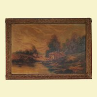 Vintage Very Large Landscape Oil Painting on Canvas - House, Trees, Barn, Water, and Birds in Flight - Original Wood Composite Frame, Bronze in Color - Signed by Artist John Winston