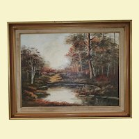Vintage Landscape Oil Painting on Canvas - Roosevelt Island in Washington DC in 1978 - Trees are in Fall Colors Wood Frame, Gold in Color - Signed by Artist Maggie Winn