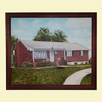 Vintage Landscape Oil Painting on Canvas Red Brick House with Gray Roof - Trees and Flowers are in Summer Colors - Custom Walnut Wood Frame - Signed by Artist Anton Lincibus, 2003