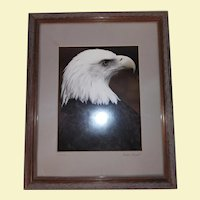 Vintage Limited Edition Signed and Numbered Lithograph - Eagle Head - Eagle One - Artist Robert Finkel - Certificate of Authenticity - Custom Wood Frame with Glass