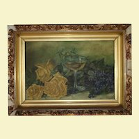 Antique 19th Century Oil Painting - Gold Composite Wood Frame - Still Life - Yellow Roses - Wine Glass with Wine - Purple Flowers - Green Leaves and Stems - Signed by Melanie - Dated 1899