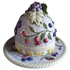 Vintage Ceramic Cheese or Butter Server with Dome - Hand Painted with Fruit and Flowers - Bright, Cheery Colors
